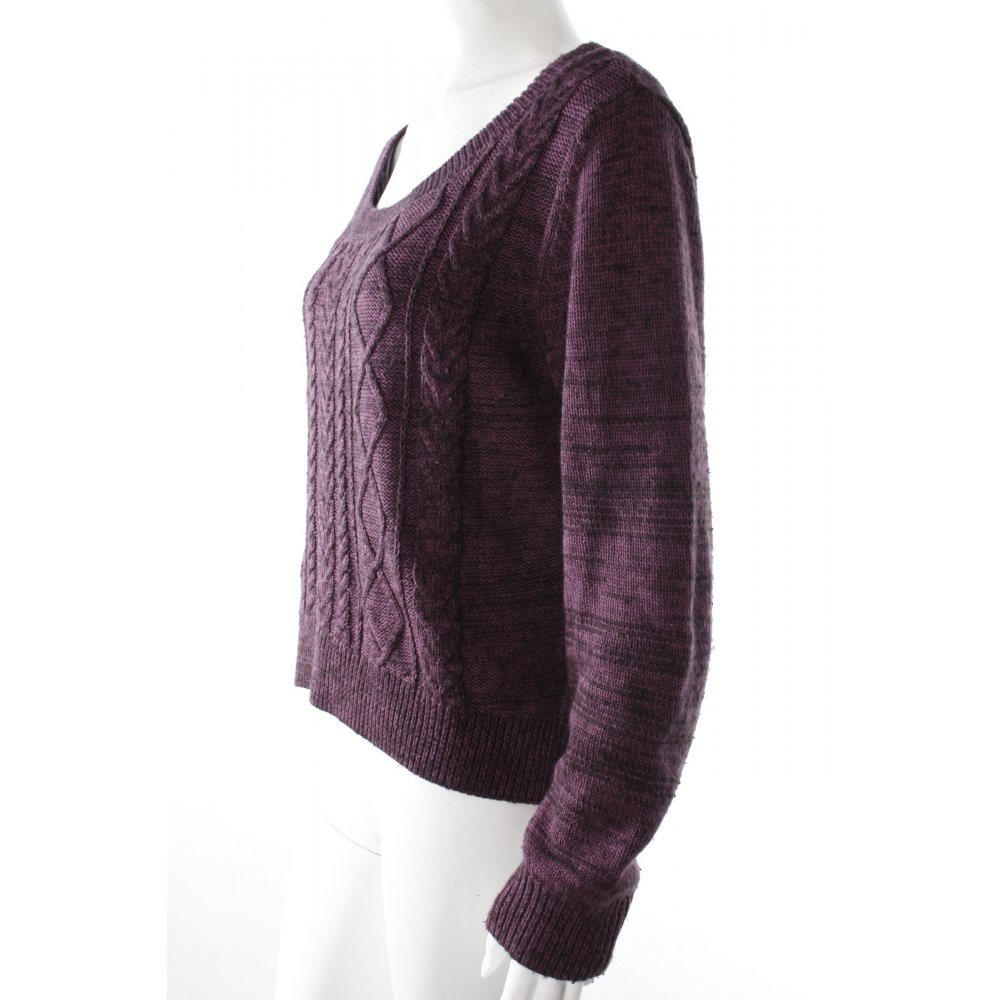 h m strickpullover aubergine damen gr de 38 braunviolett pullover sweater ebay. Black Bedroom Furniture Sets. Home Design Ideas