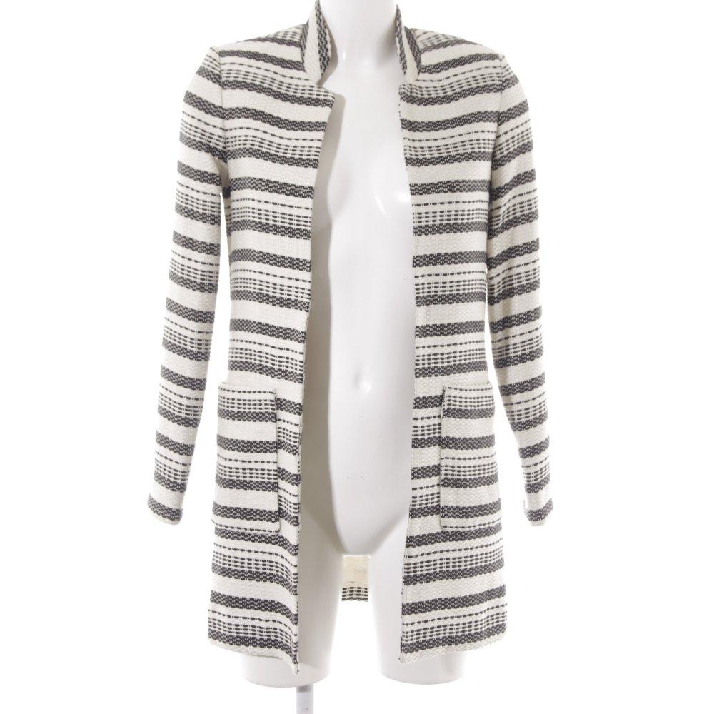 Detalles de H&M Abrigo de entretiempo negro blanco puro Patrón de tejido elegante Mujeres