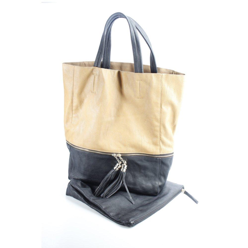 hallhuber shopper braun schwarz leder optik damen tasche bag. Black Bedroom Furniture Sets. Home Design Ideas