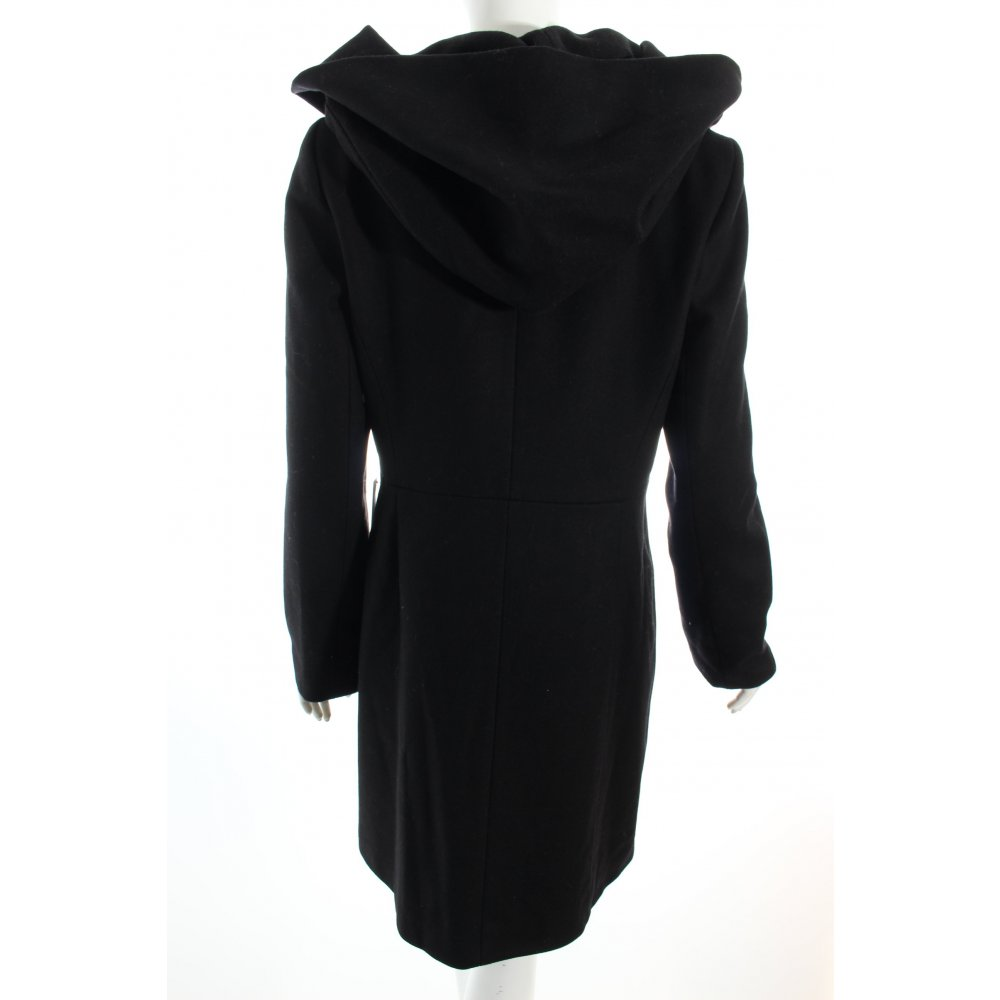 hallhuber wollmantel schwarz bezogene kn pfe damen gr de 40 mantel coat ebay. Black Bedroom Furniture Sets. Home Design Ideas