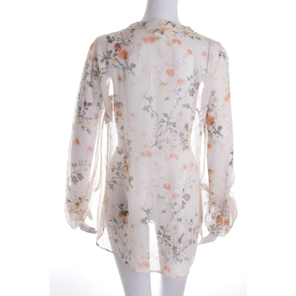 hessnatur seidenbluse florales muster transparenz optik damen gr de 34 creme ebay. Black Bedroom Furniture Sets. Home Design Ideas