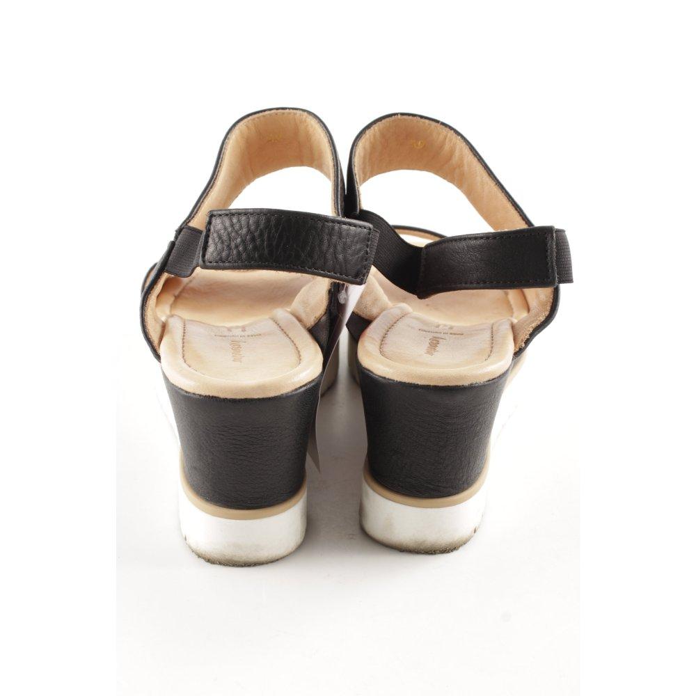 Details zu HESSNATUR Wedges Sandaletten mehrfarbig Casual Look Damen Gr. DE 40 schwarz