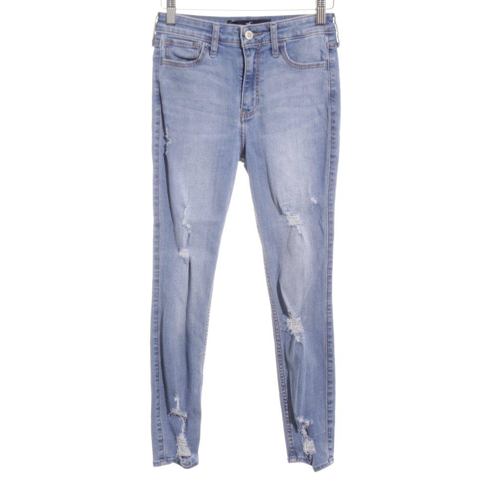 Hollister Vaquero Skinny Azul Blanco Look Casual Mujeres Talla Eu 30 Ebay
