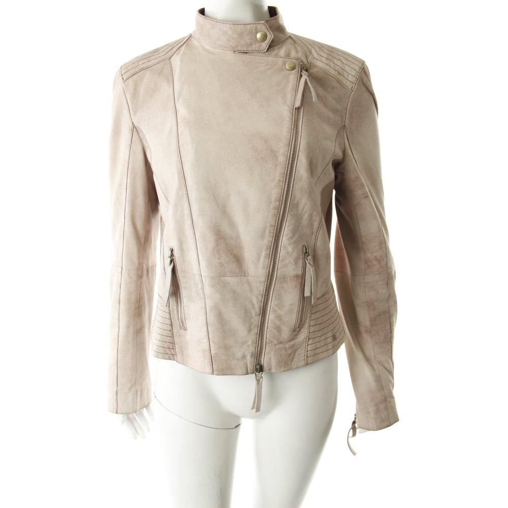 hugo boss lederjacke beige b nderverzierung damen gr de 38 jacke jacket ebay. Black Bedroom Furniture Sets. Home Design Ideas