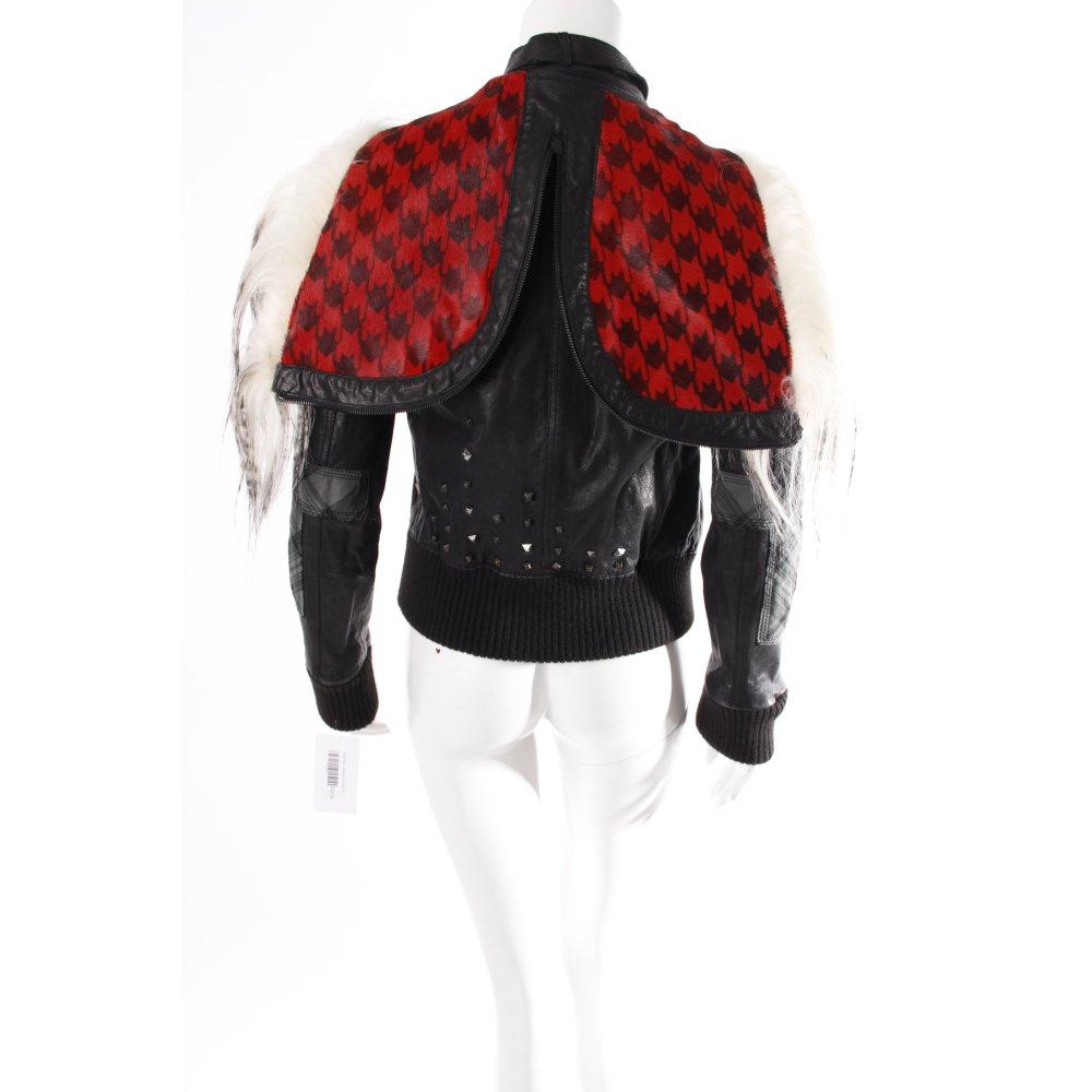 hugo boss lederjacke mit fake fur damen gr de 36 schwarz jacke jacket ebay. Black Bedroom Furniture Sets. Home Design Ideas
