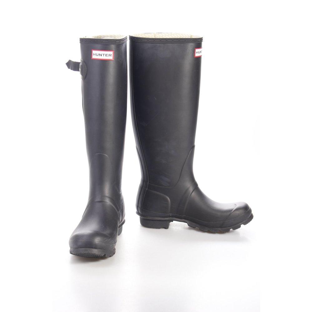 hunter gummistiefel schwarz damen gr de 37 stiefel high boots wellies ebay. Black Bedroom Furniture Sets. Home Design Ideas