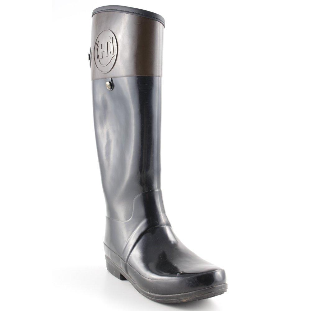 hunter gummistiefel schwarz braun reiter look damen gr de 39 stiefel high boots ebay. Black Bedroom Furniture Sets. Home Design Ideas