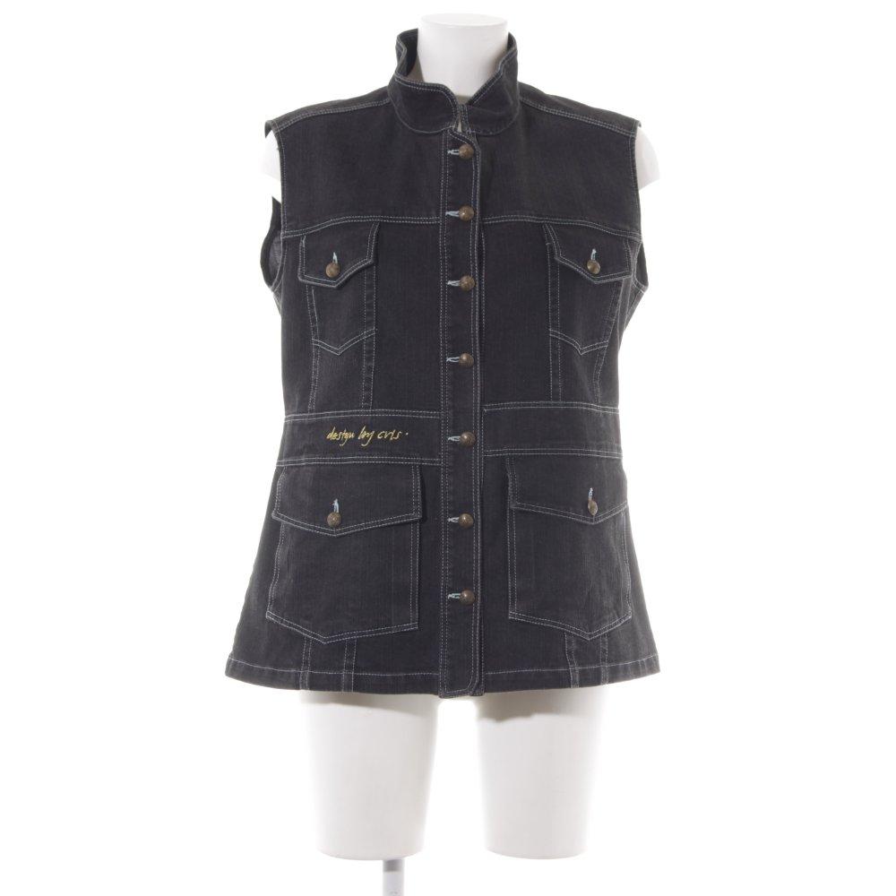 check out 5d07d 1cf9e Dettagli su Smanicato jeans multicolore stile casual Donna Taglia IT 44 nero