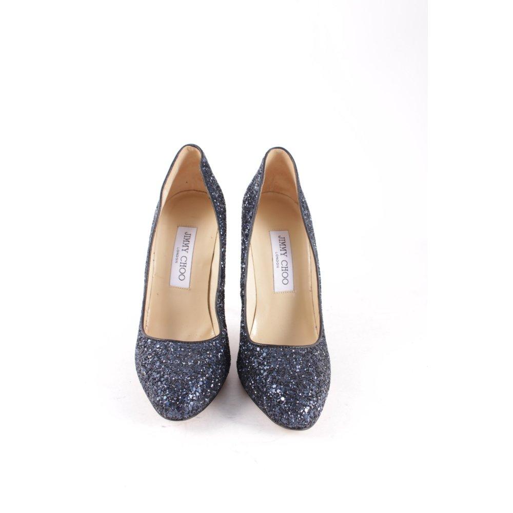 jimmy choo high heels dunkelblau glitzer optik damen gr de 37 5 pumps leder ebay. Black Bedroom Furniture Sets. Home Design Ideas