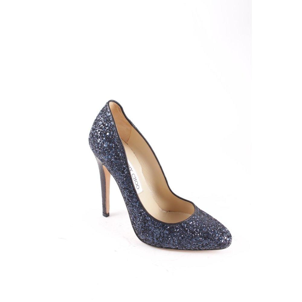 jimmy choo high heels dunkelblau glitzer optik damen gr. Black Bedroom Furniture Sets. Home Design Ideas