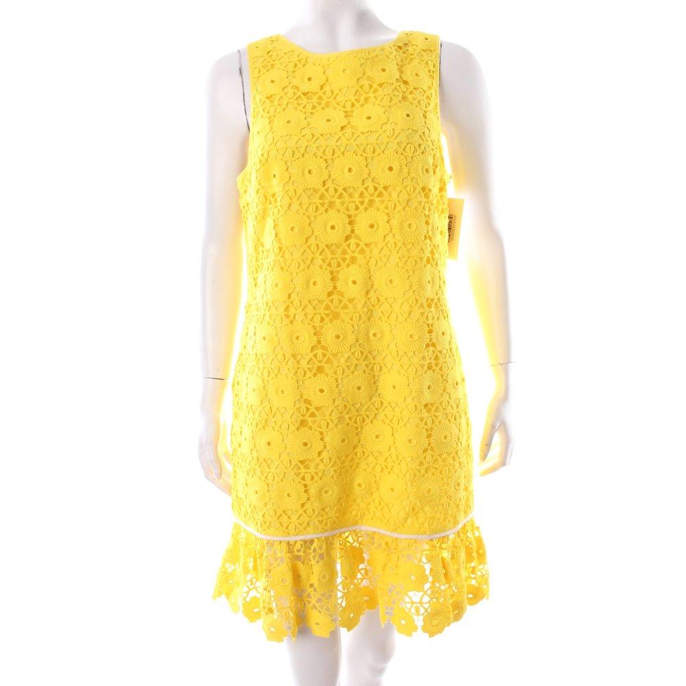 juicy couture etuikleid gelb blumenmuster spitzen optik damen gr de 38 kleid ebay. Black Bedroom Furniture Sets. Home Design Ideas