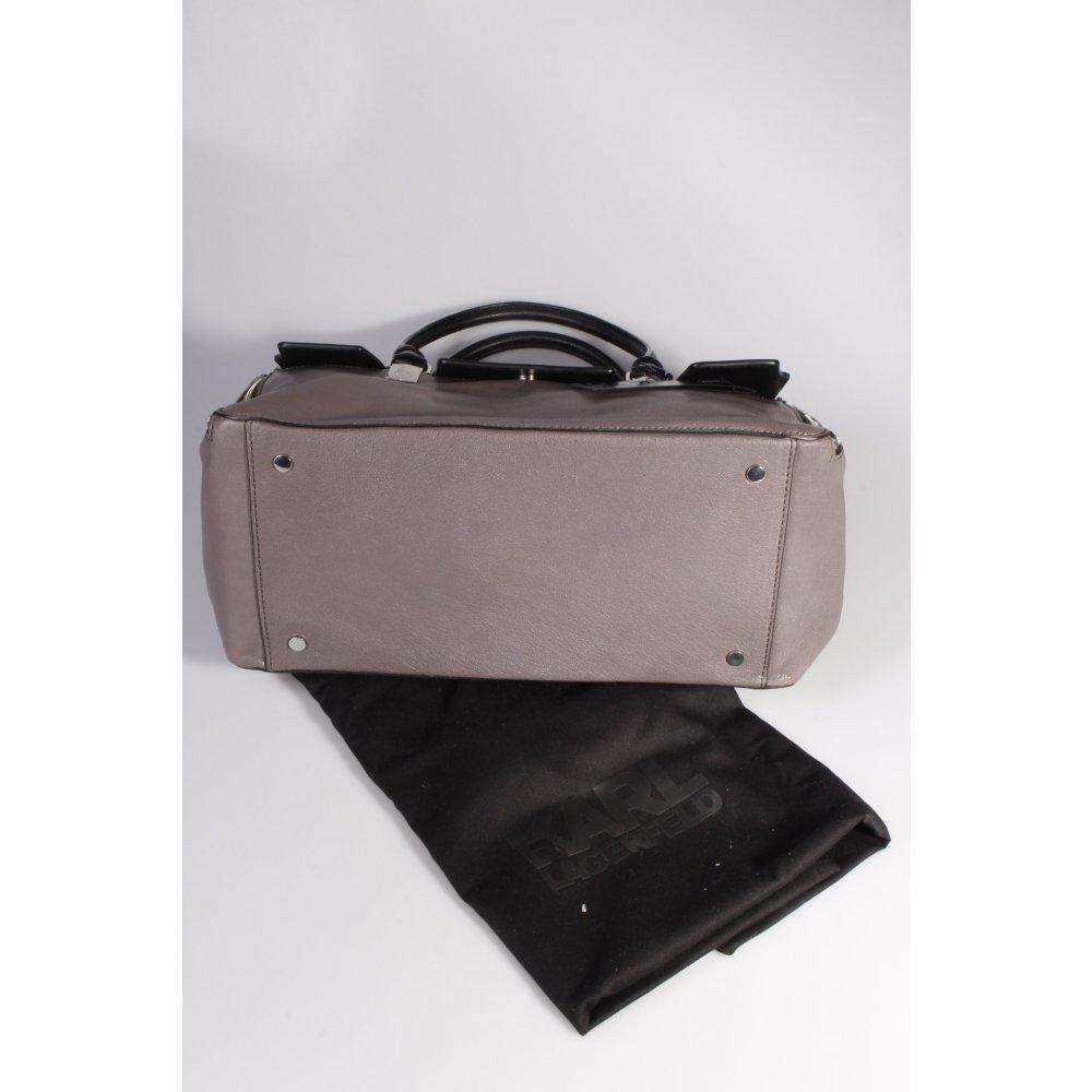 karl lagerfeld handtasche bicolor bag large grey black damen graubraun tasche ebay. Black Bedroom Furniture Sets. Home Design Ideas