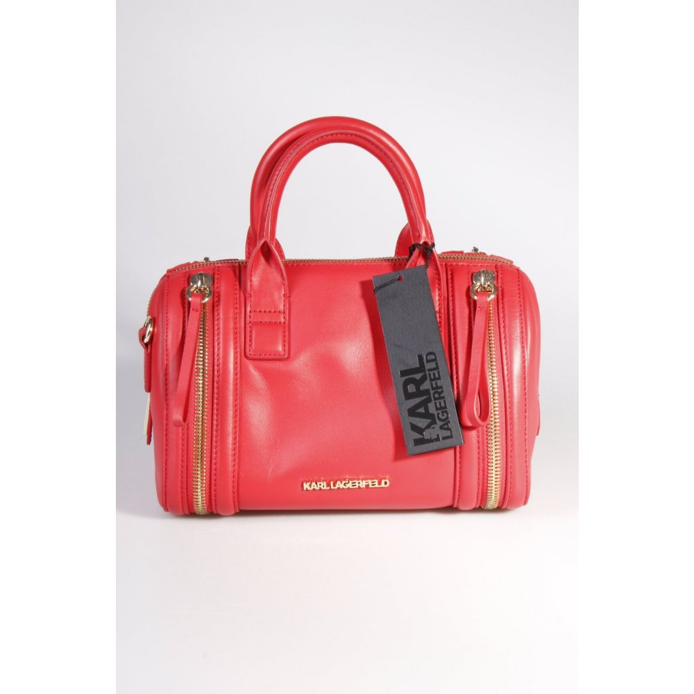 karl lagerfeld handtasche karl zip small bauletto red damen rot tasche bag leder ebay. Black Bedroom Furniture Sets. Home Design Ideas