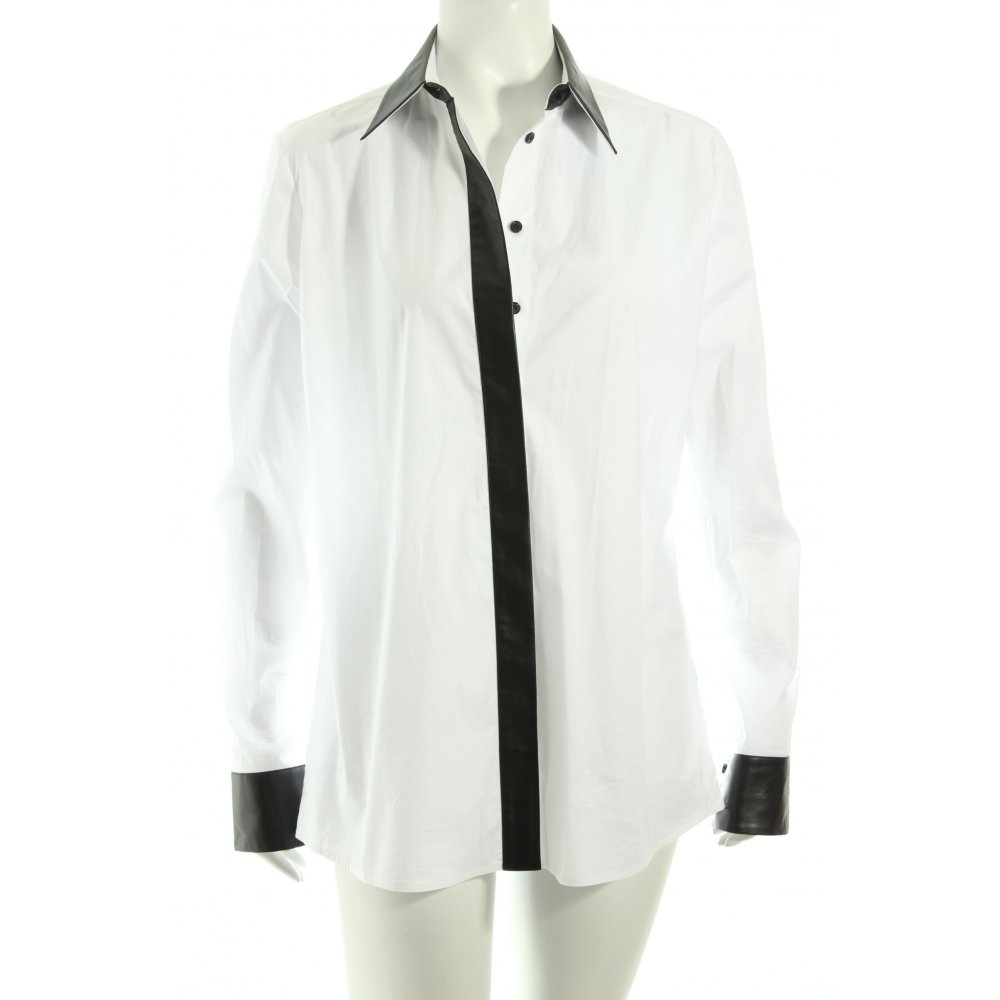 KARL LAGERFELD Langarm-Bluse weiß-schwarz Business-Look . d5f38ba97a