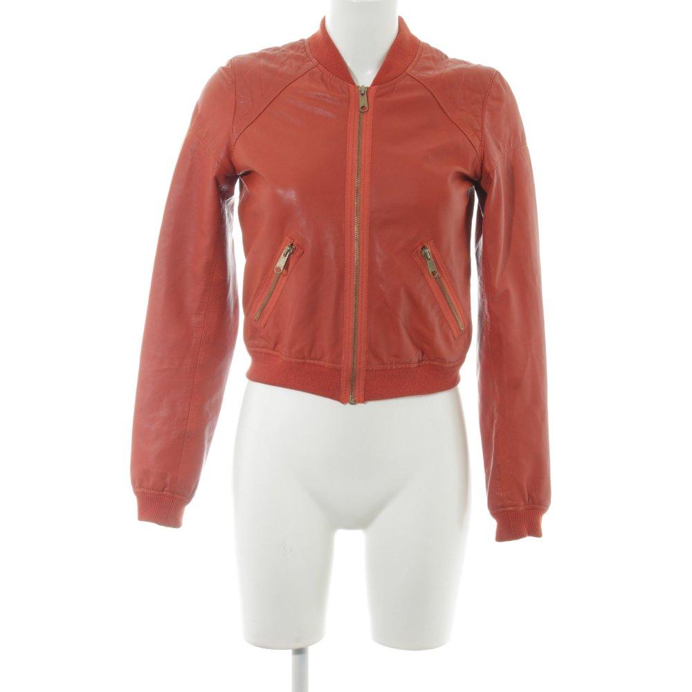 size 40 76deb 344a4 Dettagli su KAVIAR GAUCHE FOR ZALANDO Giacca in pelle rosso chiaro stile  casual Donna