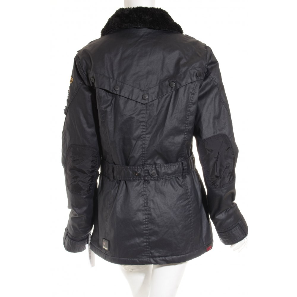 khujo parka dunkelblau graublau sportlicher stil damen gr de 42 jacke jacket ebay. Black Bedroom Furniture Sets. Home Design Ideas