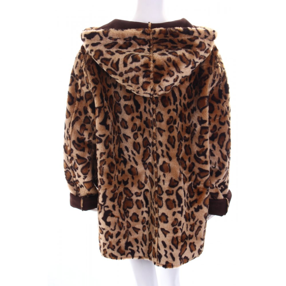 fake fur coat leopard pattern extravagant style women s size uk 18 brown ebay. Black Bedroom Furniture Sets. Home Design Ideas