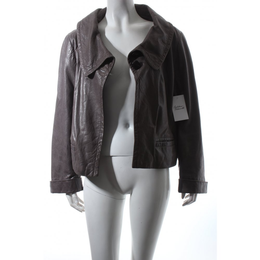 laur l lederjacke grau casual look damen gr de 44 jacke jacket leder ebay. Black Bedroom Furniture Sets. Home Design Ideas