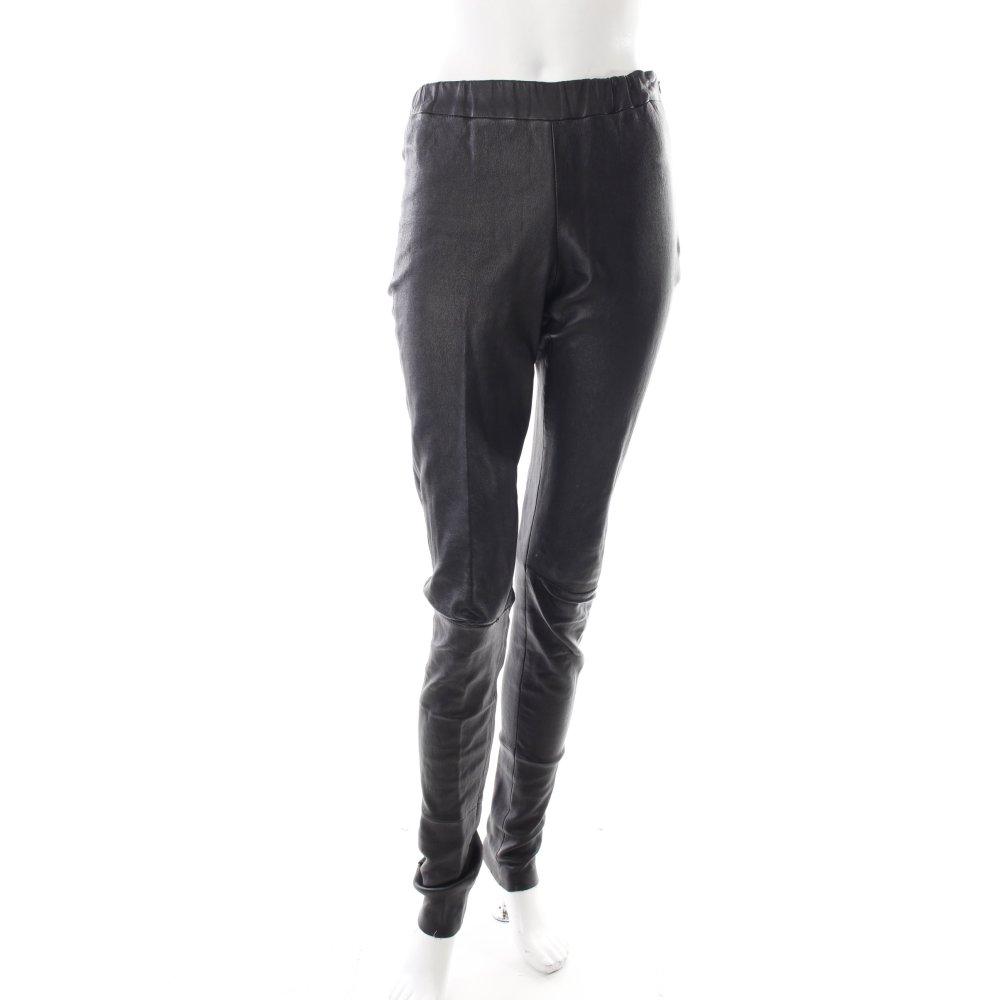 lederhose schwarz damen gr de 36 hose trousers leder leather trousers ebay. Black Bedroom Furniture Sets. Home Design Ideas