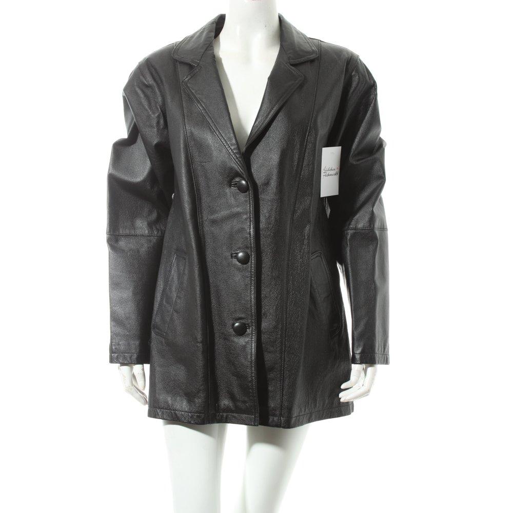Lederjacke schwarz klassischer stil damen gr de 40 jacke for Klassischer stil
