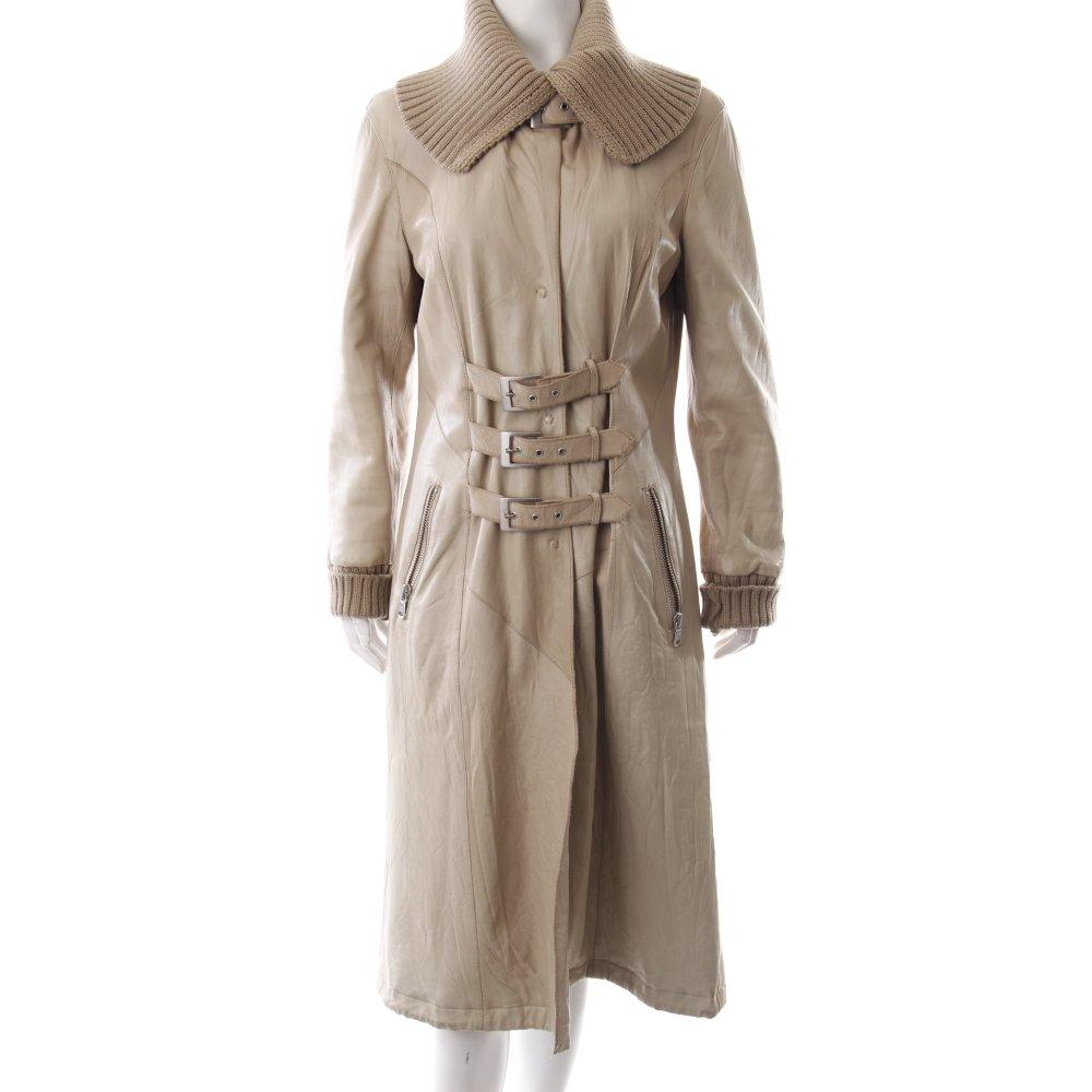 ledermantel beige vintage artikel damen gr de 40 mantel coat leder leather coat ebay. Black Bedroom Furniture Sets. Home Design Ideas