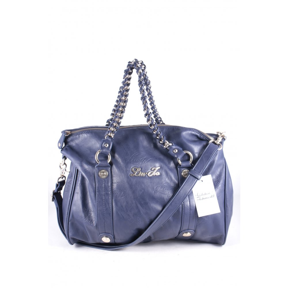 liu jo handtasche dunkelblau leder optik damen tasche bag handbag ebay. Black Bedroom Furniture Sets. Home Design Ideas