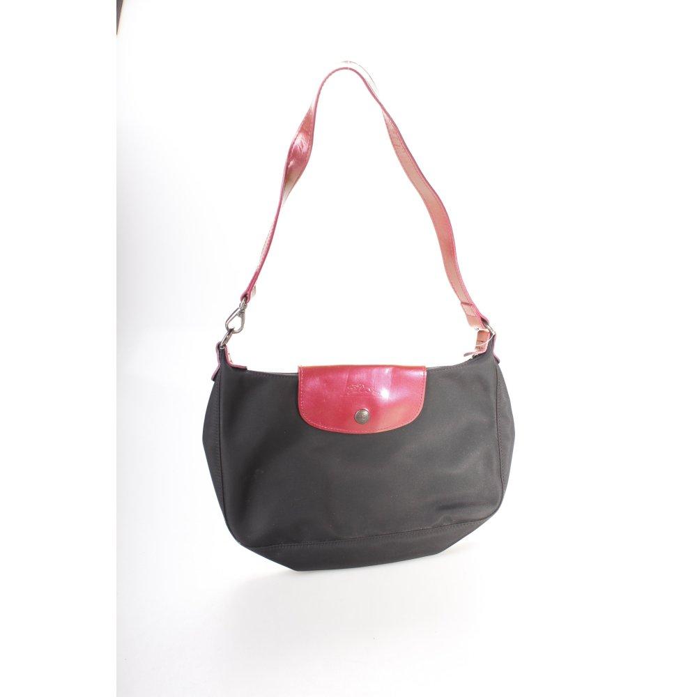 longchamp handtasche schwarz rot damen tasche bag handbag. Black Bedroom Furniture Sets. Home Design Ideas