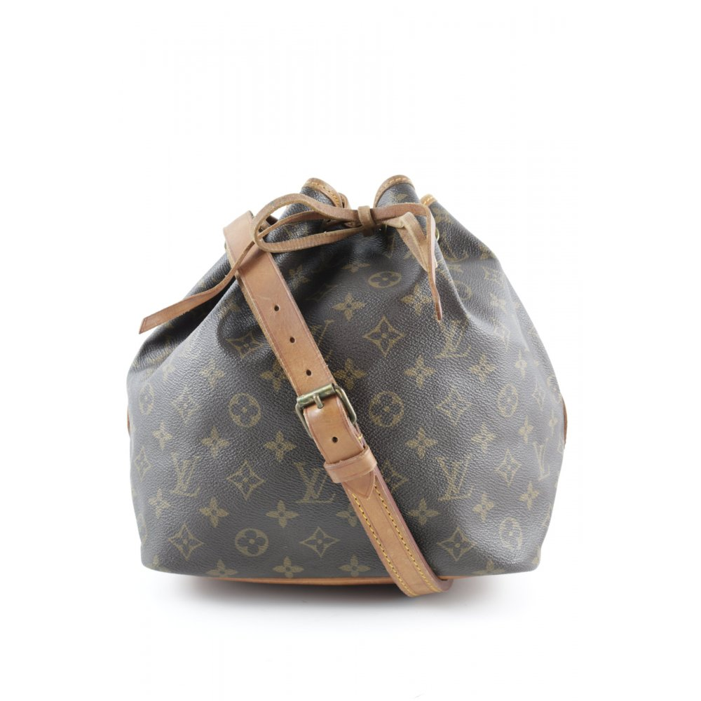 louis vuitton beuteltasche sac noe petite damen braun tasche bag leder ebay. Black Bedroom Furniture Sets. Home Design Ideas