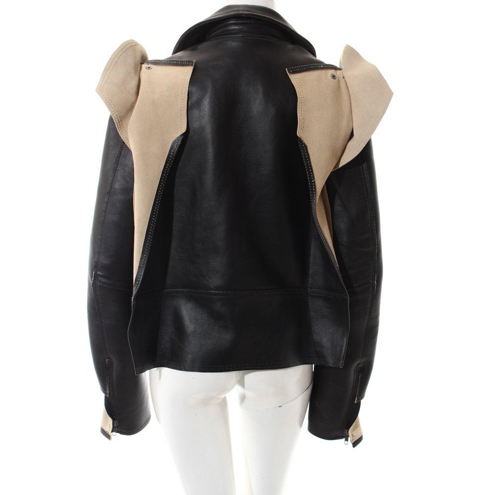 maison martin margiela for h m leather jacket black cream. Black Bedroom Furniture Sets. Home Design Ideas