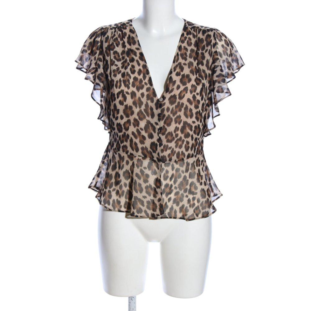 MANGO SUIT Camisa de mujer marrón crema estampado de