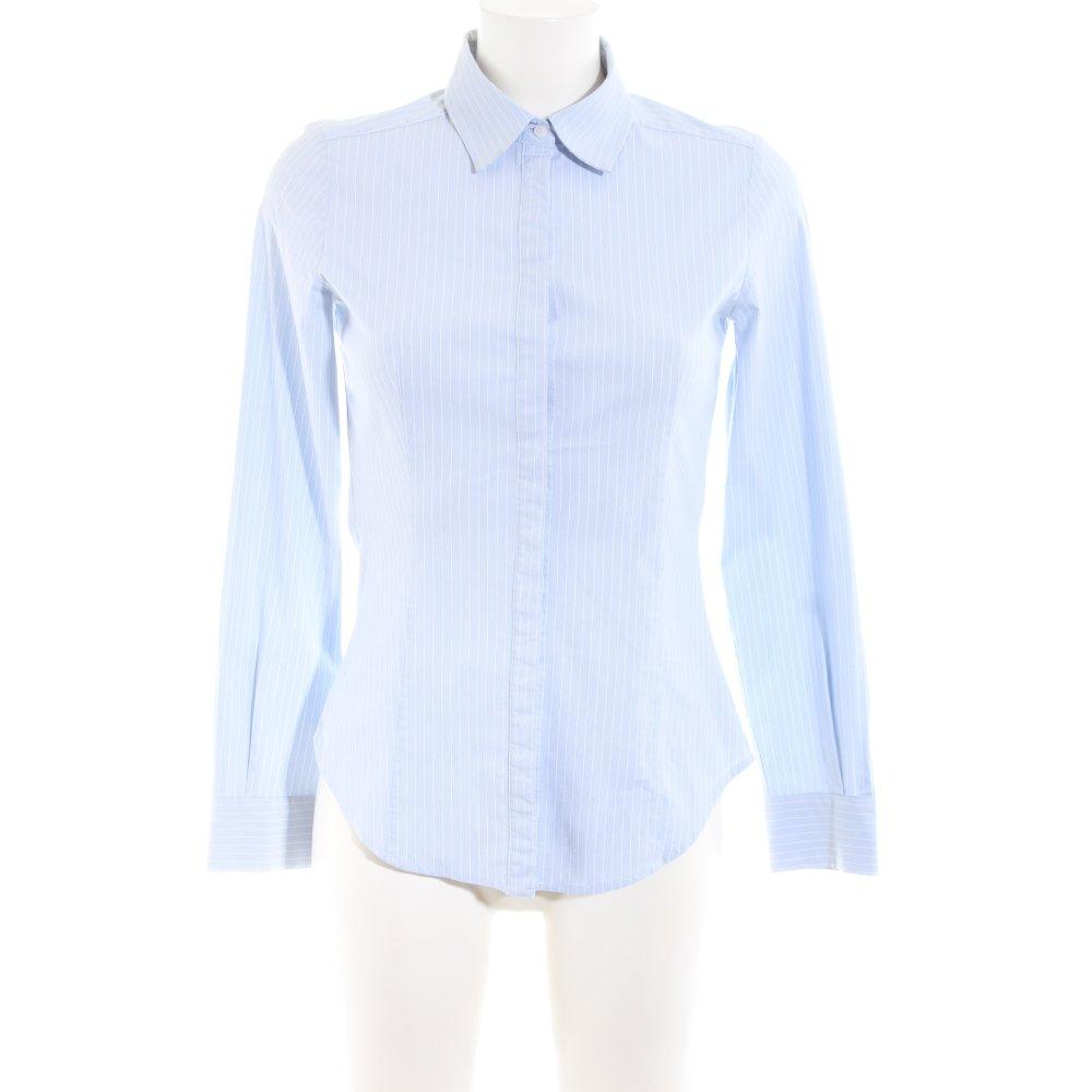 MANGO SUIT Camisa de manga larga azul blanco estampado a