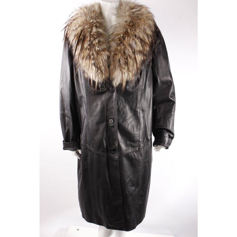 ledermantel mit fellkragen damen gr de 54 schwarz mantel coat ebay. Black Bedroom Furniture Sets. Home Design Ideas
