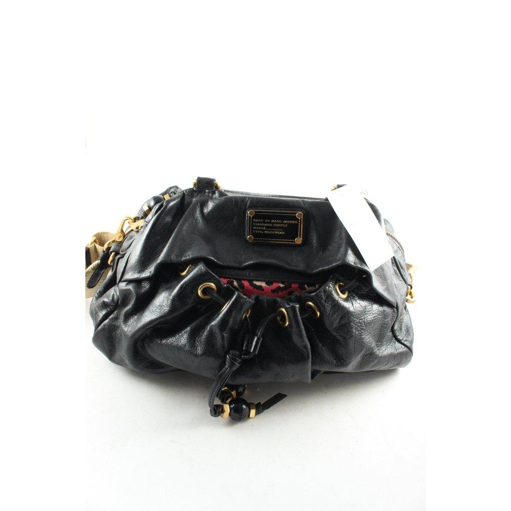 marc by marc jacobs handtasche schwarz goldfarben leomuster casual look damen ebay. Black Bedroom Furniture Sets. Home Design Ideas