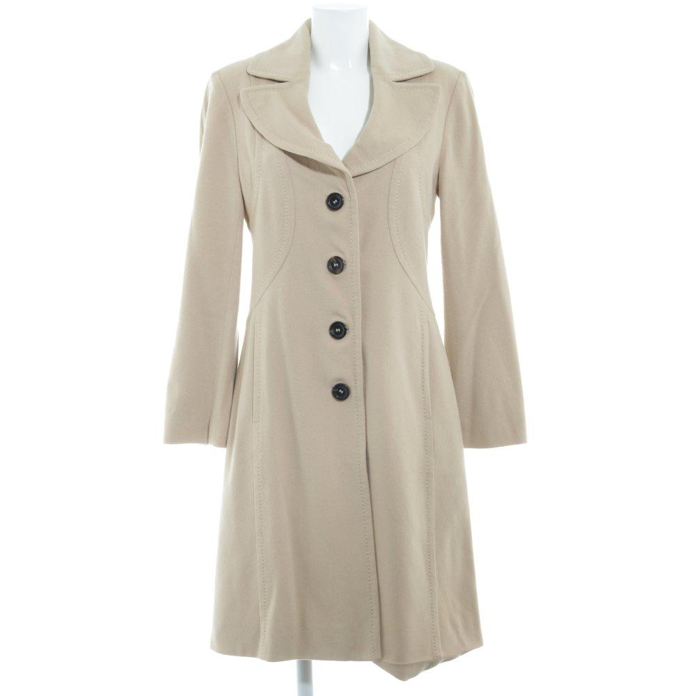 Dettagli su MARC CAIN Cappotto in lana color cammello stile casual Donna Taglia IT 40