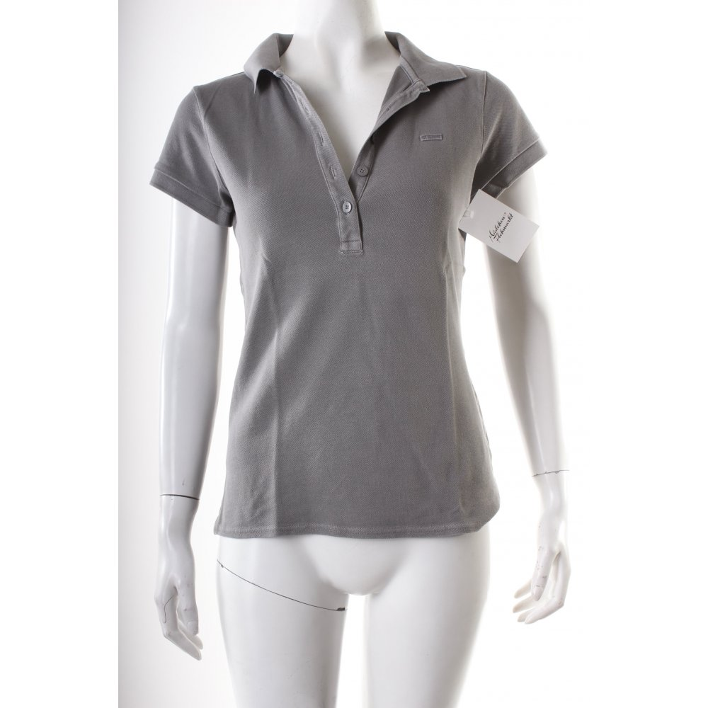 marc o polo polo shirt grau logostickerei damen gr de 34 polo shirt. Black Bedroom Furniture Sets. Home Design Ideas