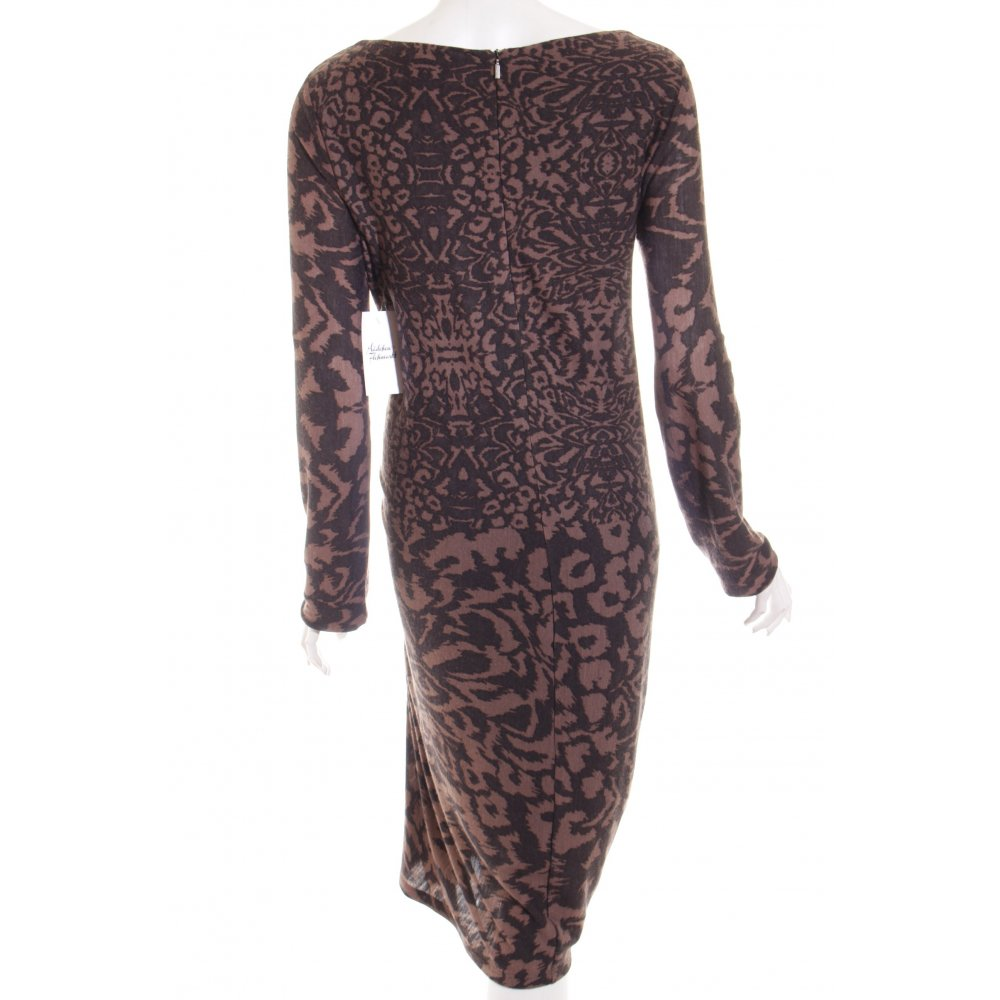 max mara longsleeve dress brown black leopard pattern animal print women s ebay. Black Bedroom Furniture Sets. Home Design Ideas