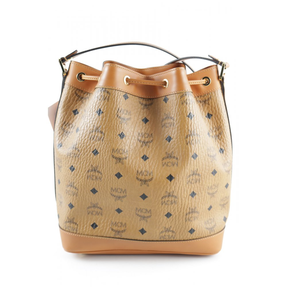 mcm beuteltasche heritage drawstring bucket bag small cognac damen tasche ebay. Black Bedroom Furniture Sets. Home Design Ideas