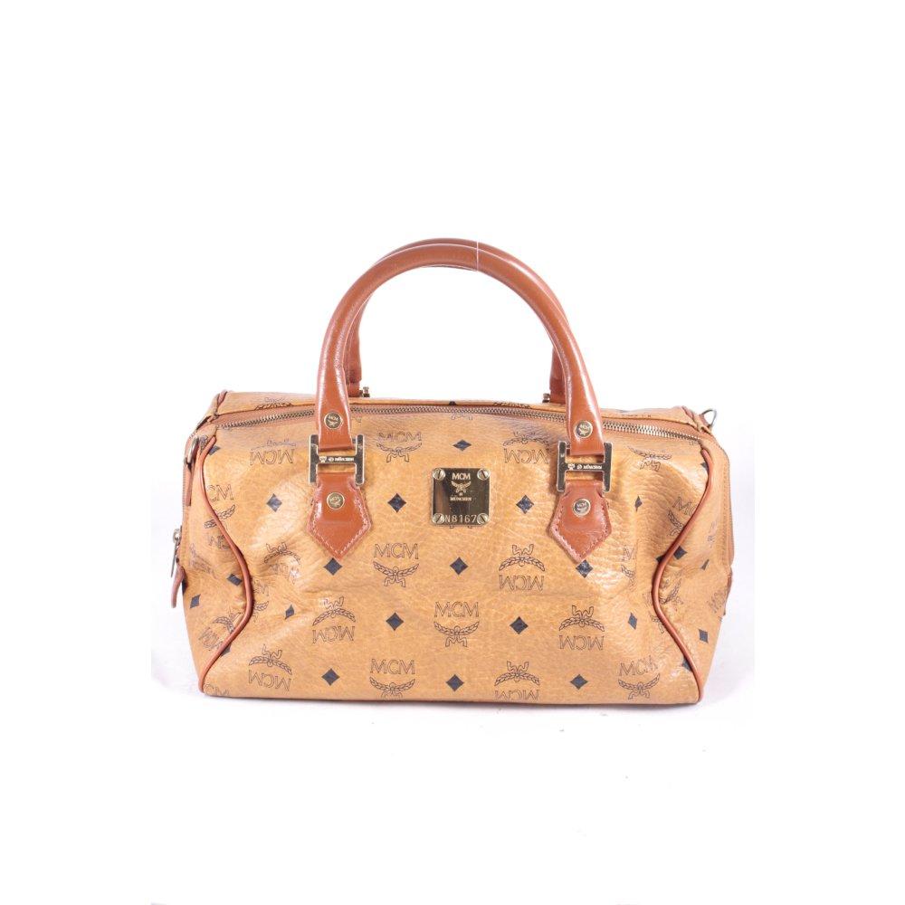 mcm handtasche cognac braun monogram muster leder optik damen tasche bag handbag ebay. Black Bedroom Furniture Sets. Home Design Ideas