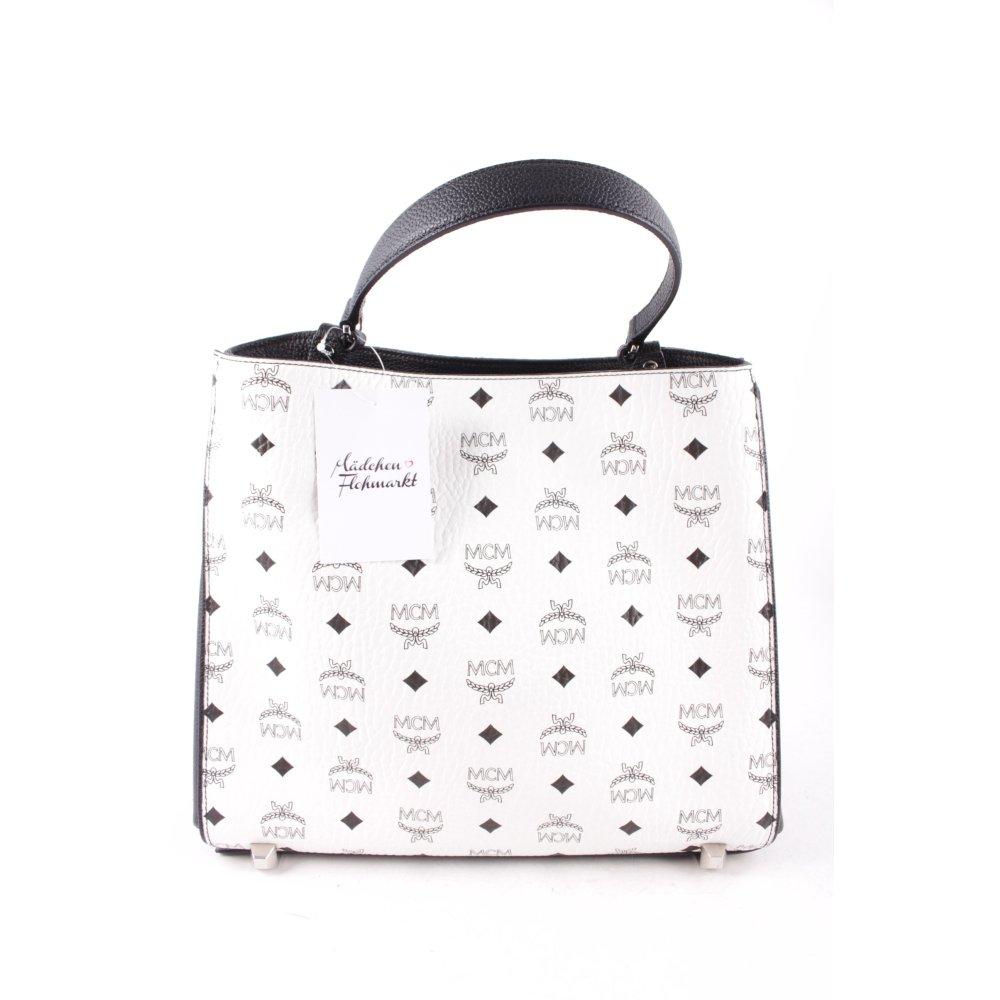mcm handtasche corina visetos shoulder bag medium white damen wei tasche. Black Bedroom Furniture Sets. Home Design Ideas