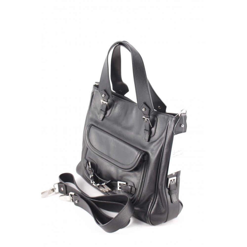 mcm handtasche schwarz silberfarben casual look damen tasche bag leder handbag ebay. Black Bedroom Furniture Sets. Home Design Ideas