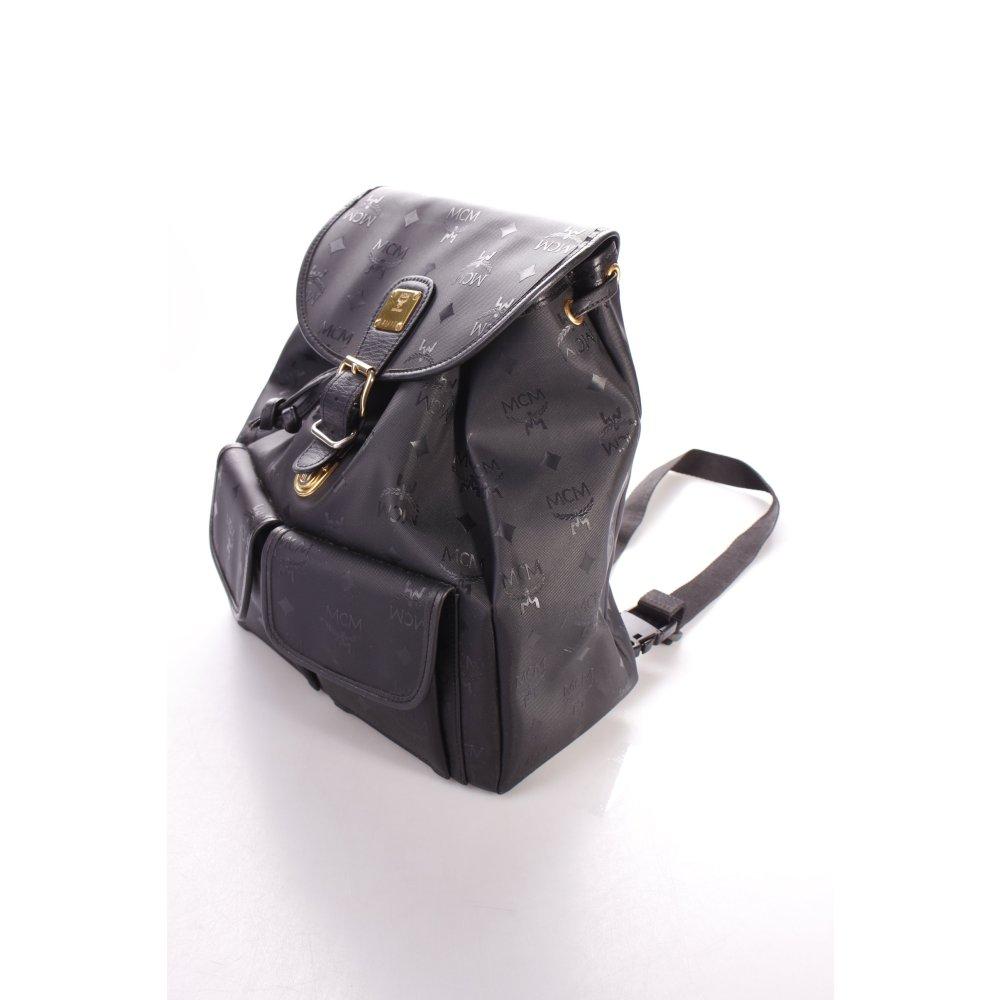 mcm rucksack schwarz monogram muster klassischer stil damen tasche bag backpack ebay. Black Bedroom Furniture Sets. Home Design Ideas