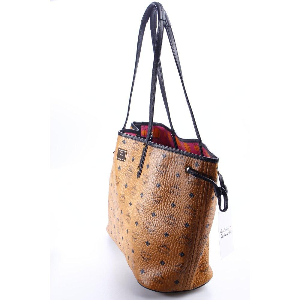 mcm shopper cognac schwarz allover druck casual look damen tasche bag. Black Bedroom Furniture Sets. Home Design Ideas