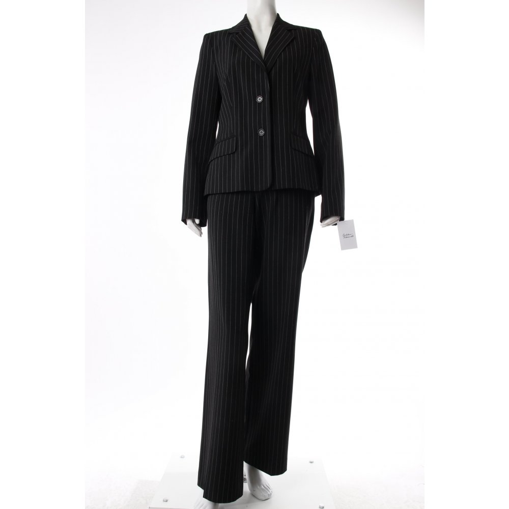 mexx nadelstreifenanzug schwarz damen gr de 38 anzug suit pinstripe suit ebay. Black Bedroom Furniture Sets. Home Design Ideas