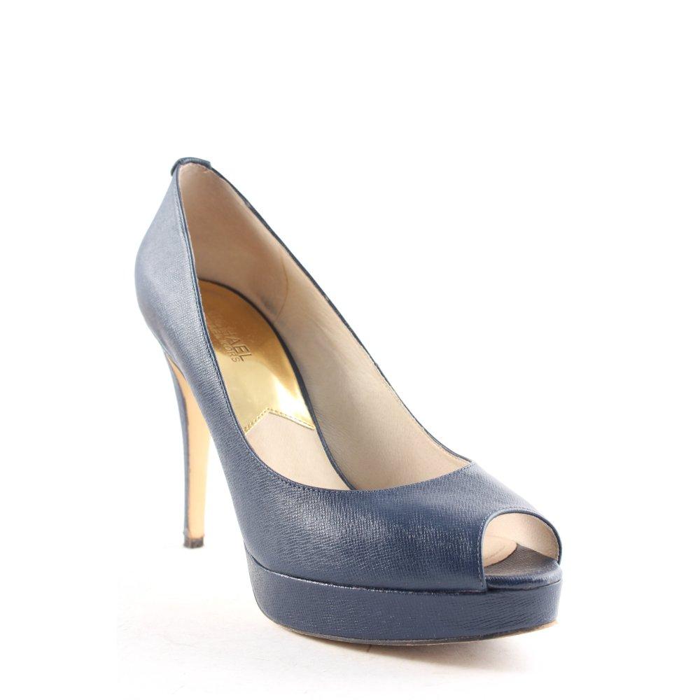 michael kors high heels dunkelblau goldfarben elegant. Black Bedroom Furniture Sets. Home Design Ideas