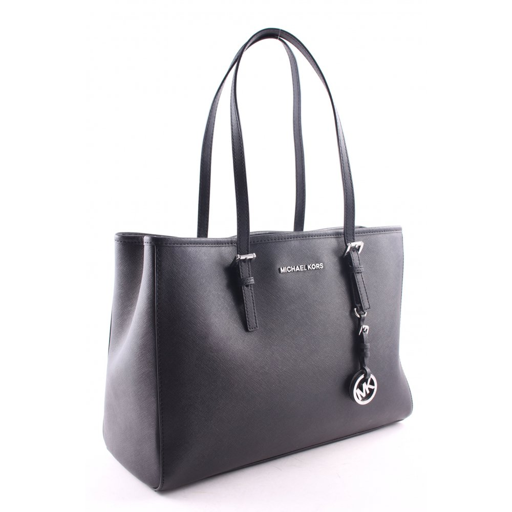 michael kors shopper jet set travel lg ew tote black women s bag ebay. Black Bedroom Furniture Sets. Home Design Ideas