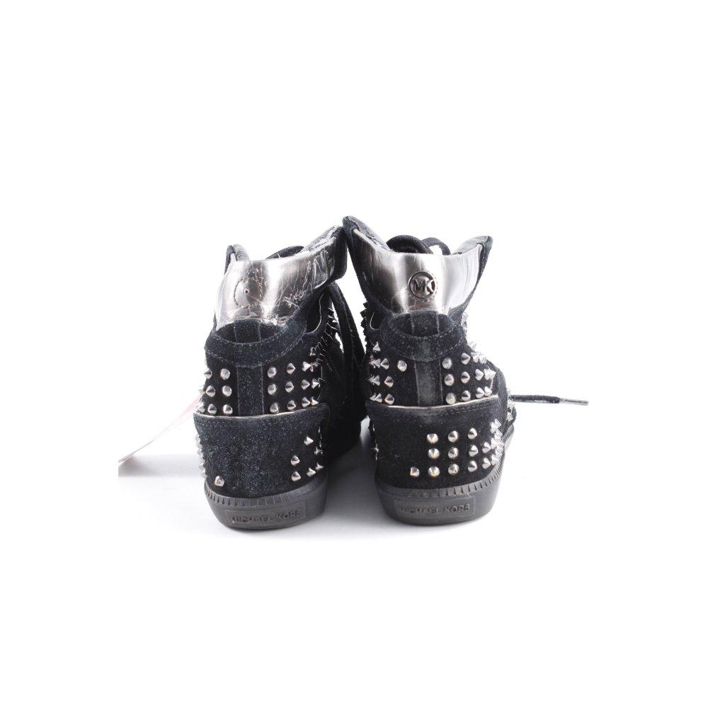 Detalles de Michael Kors wedge Zapatillas negro color plata casual Look señora talla de 40 ver título original