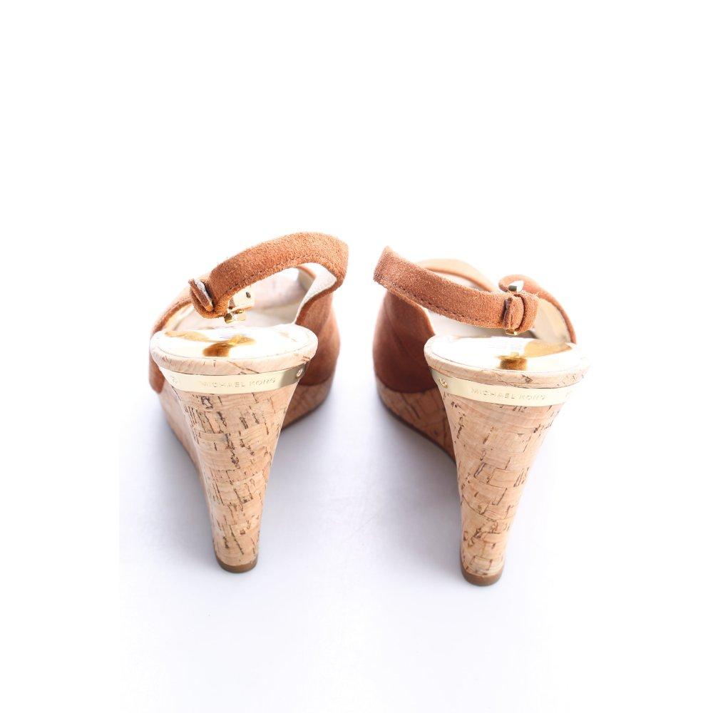 michael kors wedge sandals brown velour look women s size. Black Bedroom Furniture Sets. Home Design Ideas