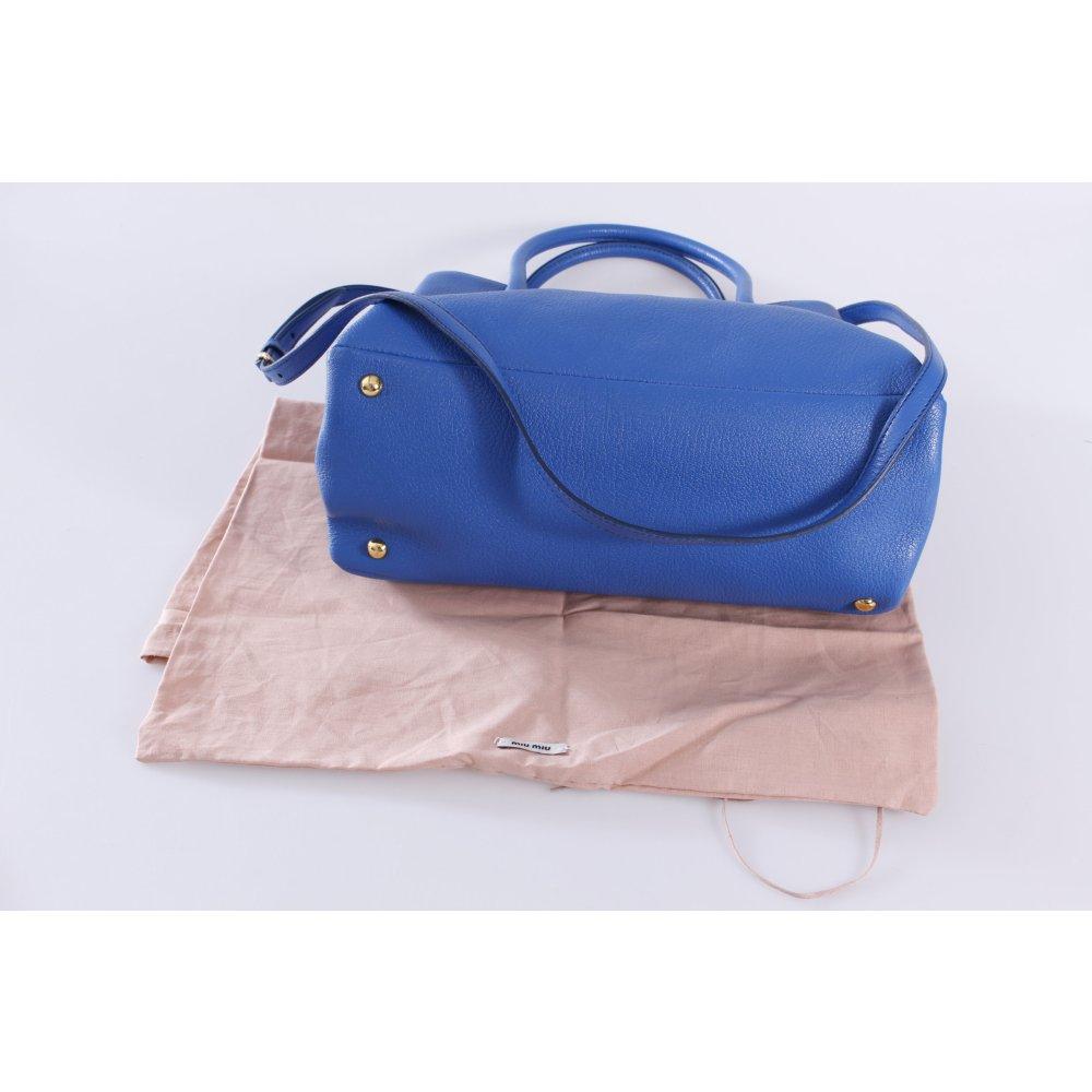 miu miu henkeltasche madras marea blau damen tasche bag leder carry bag. Black Bedroom Furniture Sets. Home Design Ideas