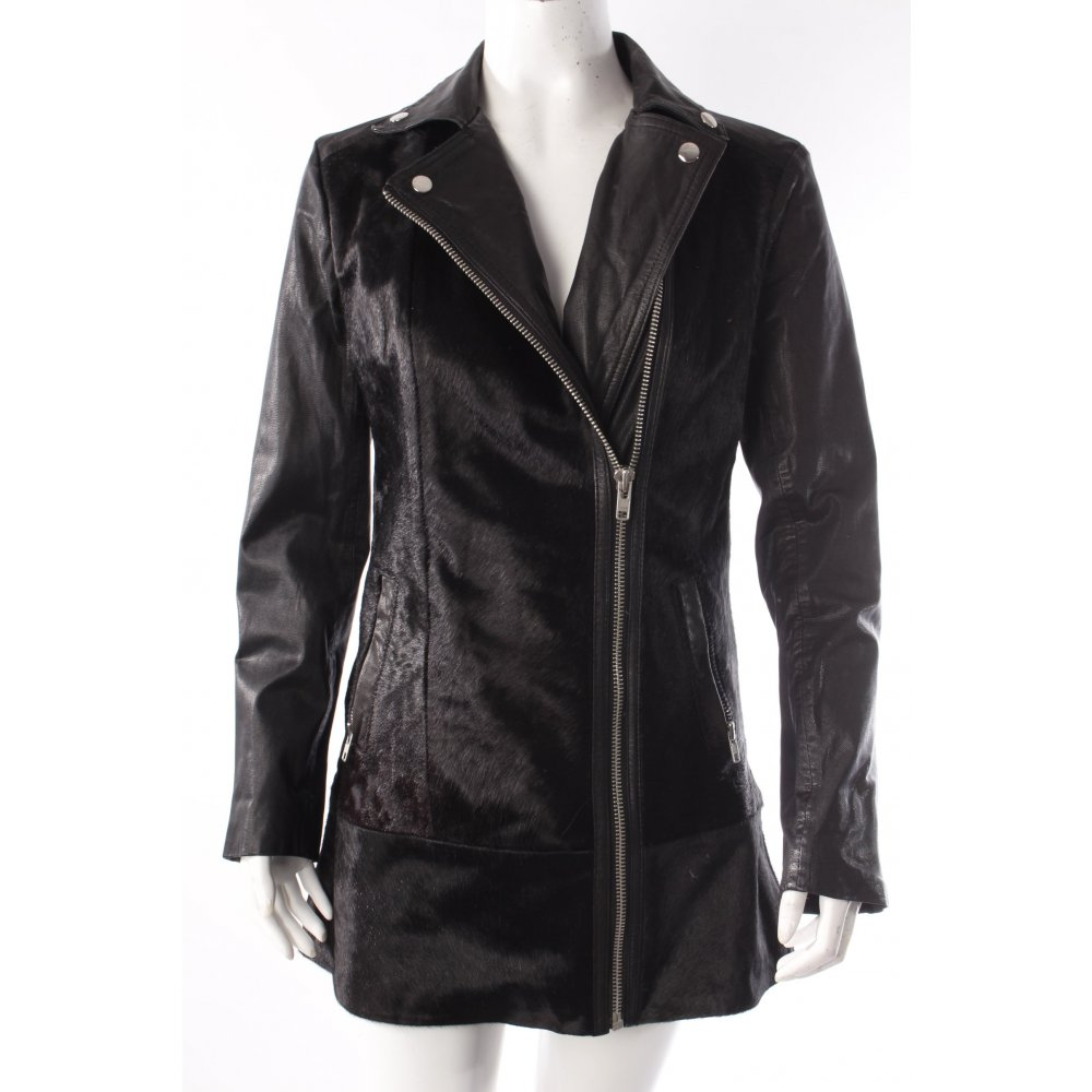 muubaa bikerjacke mit fell damen gr de 36 schwarz jacke jacket leder ebay. Black Bedroom Furniture Sets. Home Design Ideas