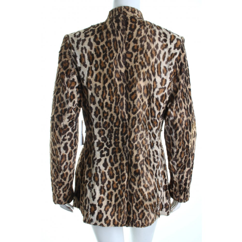 nicowa fur jacket black beige leopard pattern street fashion look women s ebay. Black Bedroom Furniture Sets. Home Design Ideas